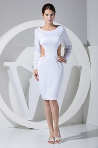 White Sheath Cutout Long Sleeves Mini-length Grad Dress for Girls