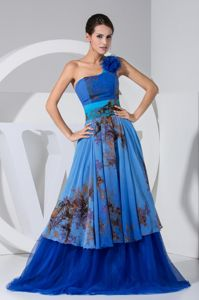 Royal Blue One Shoulder Printed Graduation Dresses with Ruffle Layers
