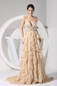 Champagne Plunging Neckline Grad Dress with Ruffles and Sweep Train
