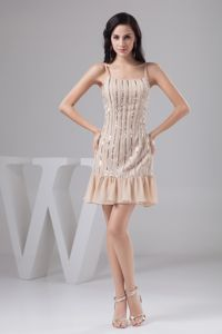 Spaghetti Straps Column Mini-length Champagne Grad Dress with Beads