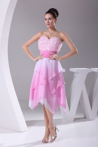 Light Pink Sweetheart Asymmetrical Grad Dresses with Sash and Ruffles