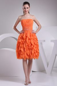 Orange Strapless Ruched Graduation Dress with Knee-length and Ruffles