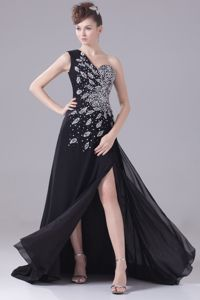 Black One Shoulder Slit and Beaded Graduation Dress with Brush Train