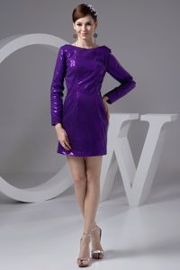 Eggplant Purple Bateau Long Sleeves Mini-length Grad Dress with Sequins
