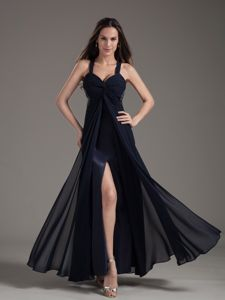 Navy Blue Straps Empire Ankle-length Grad Dress with Slit and Ruches