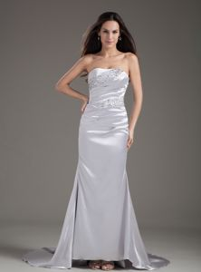 Silver Strapless Beaded Column Graduation Dresses with Court Train