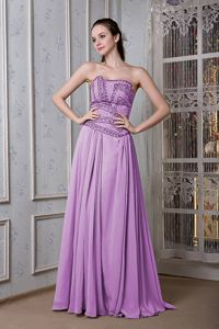 Exclusive Purple Strapless Chiffon Grad Dress for Girls with Beading