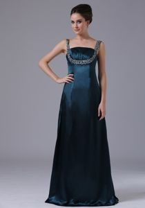 Navy Blue Taffeta Graduation Dress with Beaded Decorate Shoulder Straps