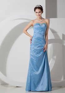 Baby Blue Column Sweetheart Beaded and Ruched Floor-length Grad Dress