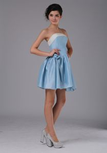 Simple A-Line Mini-length Middle School Graduation Dresses in Blue in Fillmore
