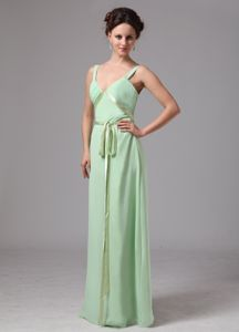 V-neck Straps Empire Floor-length Graduation Dresses for Juniors in Apple Green