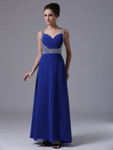 Royal Blue Beaded Straps Floor-length 5th Grade Graduation Dresses in Freeport