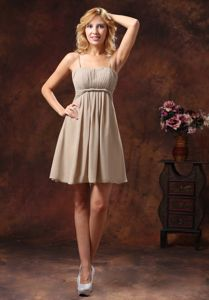 Chocolate Spaghetti Straps Mini-length Graduation Dresses for Girls in Flossmoor