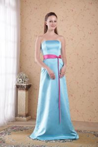 Light Blue Strapless Floor-length Graduation Dresses for High School with Sash