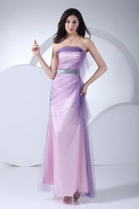 Pink and Lilac Strapless Ankle-length 5th Grade Graduation Dresses with Ruches