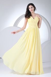 Light Yellow V-neck Floor-length Eighth Grade Graduation Dress in Montpelier