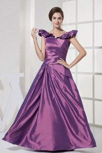 V-neck A-line Floor-length Purple Eighth Grade Graduation Dresses with Ruching