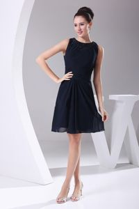 Simple Navy Blue Scoop Knee-length Middle School Graduation Dresses in Filer