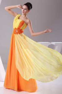 One Shoulder Floor-length Graduation Dresses in Orange and Yellow with Flowers