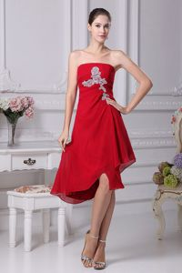 Wine Red Strapless Asymmetrical Middle School Graduation Dress with Appliques