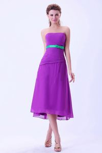 Purple Strapless Tea-length Graduation Dress for Middle School with Green Sash