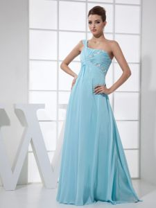 Light Blue One Shoulder Graduation Dresses for Middle School in Floor-length