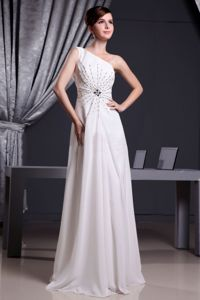 White One Shoulder Floor-length Graduation Dress for 8th Grade with Beading