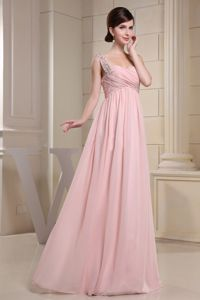 Pink One Shoulder Empire Floor-length Graduation Dresses for Girls in Kapaau