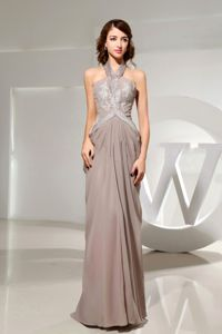 Halter Top Empire Grey 5th Grade Graduation Dresses in Floor-length in Haiku
