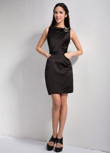 Black Bateau Neck Mini-length Graduation Dresses for High School in Mitchell