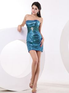 Teal Mini-length Sheath Middle School Graduation Dress with Sequins in Fulton