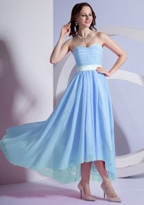 High-low Sweetheart Light Blue Graduation Dresses for Middle School in Easton