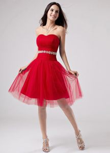 Red Strapless A-Line Knee-length 5th Grade Graduation Dresses in Emmitsburg