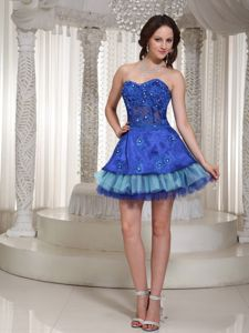 Shimmery Sweetheart Mini-length Blue Graduation Dress for 8th Grade in York