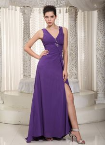 Purple V-neck Floor-length Empire Eighth Grade Graduation Dresses with Slit