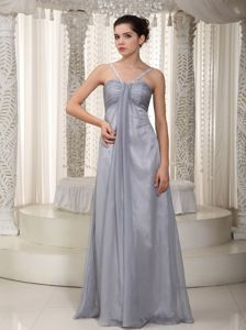 Gray Empire Straps Floor-length Graduation Dress for Middle School in Orono