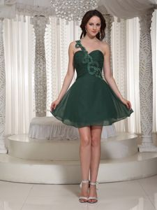 Short Peacock Green One Shoulder 5th Grade Graduation Dresses in Mini-length