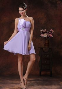 Unique One Shoulder Short Lilac Graduation Dresses for High School in Manset