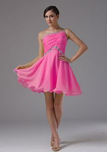 Hot Pink One Shoulder Mini-length Graduation Dress for 8th Grade in Bernard