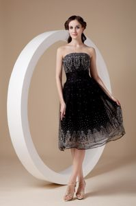 Strapless Black School Autumn Party Dress Organza Embroidery Tea-length in Boise