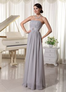 School Winter Party Dress Ruching and Beading Simple Grey with Chiffon from Texas