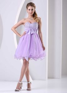 Beaded Chiffon Sash Lilac Sweetheart School Anniversary Party Dress from Austin