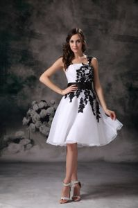 Organza Lace Modest White A-line One Shoulder School Autumn Party Dress in Texas