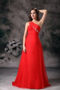 Custom Made Red One Shoulder School Spring Party Dress with Appliques from Salem