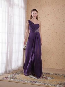 One Shoulder Purple Empire Beading and Ruching School Winter Party Dress from Salem