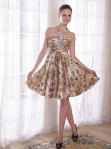 Halter School Autumn Party Dress Print Beading and Ruching Decorate from Iowa