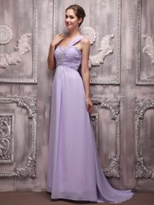 Ruching Lilac Empire One Shoulder Beading School Autumn Party Dress in Oregon