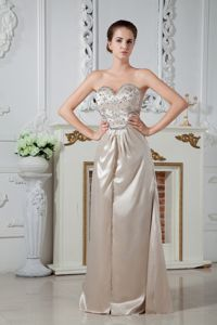 Champagne Sweetheart Ruching and Beading School Party Dress from Montgomery