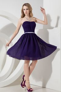 Ruching Purple A-line Strapless School Spring Party Dress Knee-length in Trenton