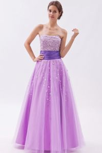 Lavender Strapless School Summer Party Dress with Tulle Beading from Helena